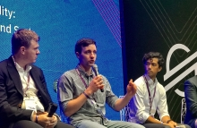 From left to right: Ian McAfee, CEO, Shift Markets; Sergey Yusupov, Apay; and Thomas Scaria, Wyre alum, speaking on a panel at Stellar Meridian 2019. Photo by Brady Dale for CoinDesk.
