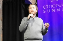 Sam Cassatt speaks at Ethereal Summit NY 2019, photo by Brady Dale for CoinDesk