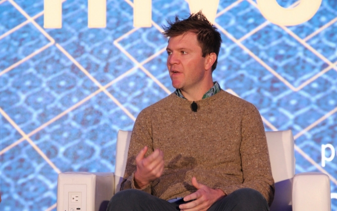 Coinbase Custody CEO Sam McIngvale speaks at Invest: NYC 2019. (Photo by Zack Seward for CoinDesk)