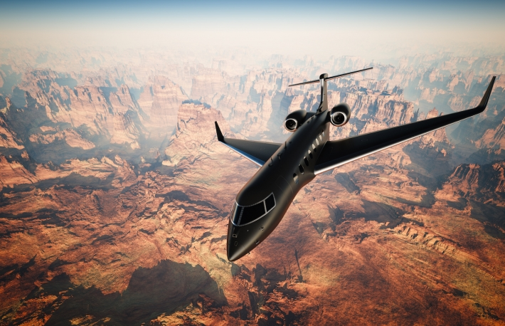 Private Jet image via Shutterstock