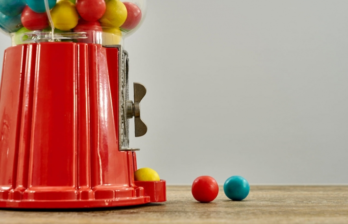 Photo via Shutterstock https://www.shutterstock.com/image-photo/studio-photo-vintage-gum-ball-machine-469681415?src=6d9a98e8-8a72-41db-b868-9ce8936e7839-1-33