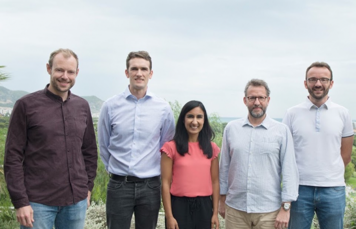 Left to right: CEO and co-founder James Smith;  Chief Scientist and co-founder Tom Robinson;    Chief Operating Officer Simone Maini; Vice President of Engineering Jon Bradshaw; and Vice President of Product Andrea Ramoino