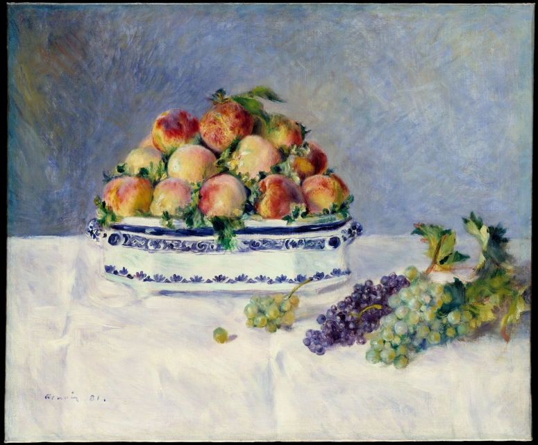 """""""Still Life with Peaches and Grapes"""" by Auguste Renoir"""