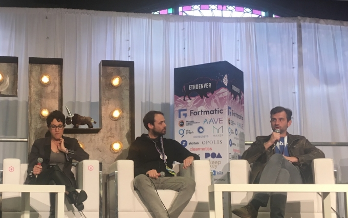From left to right: Shira Frank (Maiden), Bill Ottman (Minds), and Zooko Wilcox (ZCash). All speaking on a panel at ETHDenver on February 16, 2019.