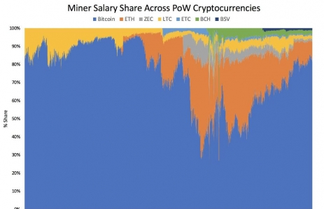 Miner Salary Share Across PoW Crytpocurrencies. (Image via ARK Invest)
