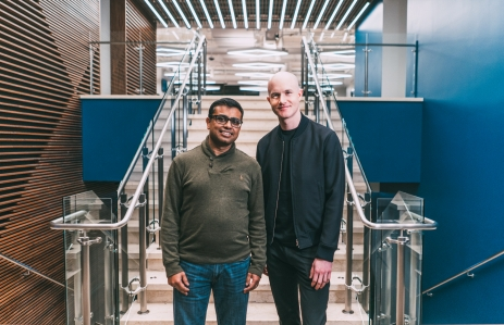 Coinbase chief product officer Surojit Chatterjee (left) and chief executive Brian Armstrong (right)