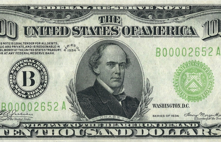 $10,000 dollar bill (not in use today), Series: 1928, 1934, 1934A & 1934B. (Image via Wikimedia Commons)