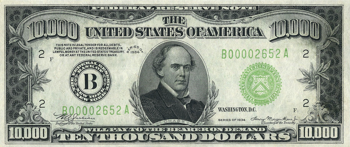 10000 usd note series of 1934 obverse 1