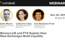CoinDesk Research's exchange liquidity webinar with Sam Bankman-Fried of FTX and Catherine Coley of Binance US