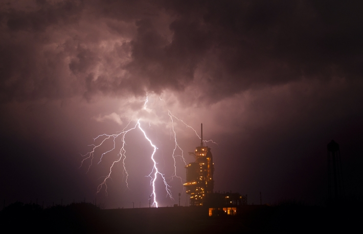 The Endeavour at launch pad 39a as a storm passes by prior to the rollback of the Rotating Service Structure, April 28, 2011. Original from NASA. Digitally enhanced by rawpixel. https://www.rawpixel.com/image/440742/free-photo-image-lightning-storm-nasa