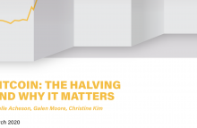 Partial view of the cover of CoinDesk Research's Bitcoin Halving report