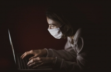 Photo by engin akyurt on Unsplash  Coronavirus, covid, face mask, computer, coder