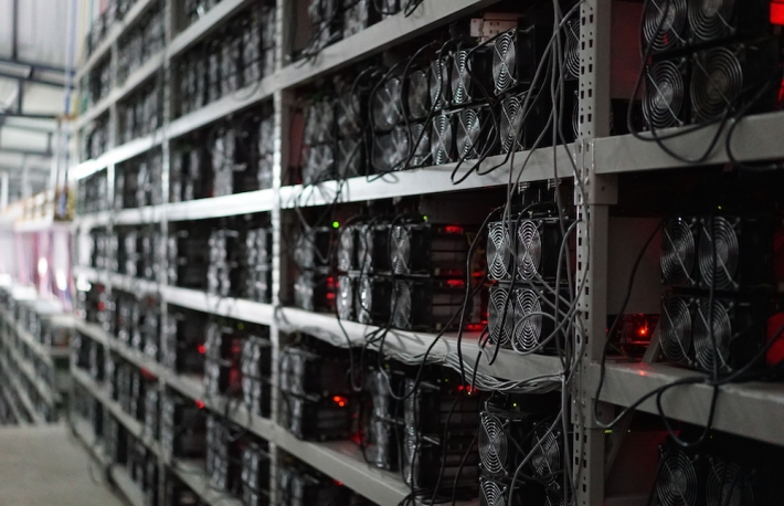 bitcoin mining equipment on shelves