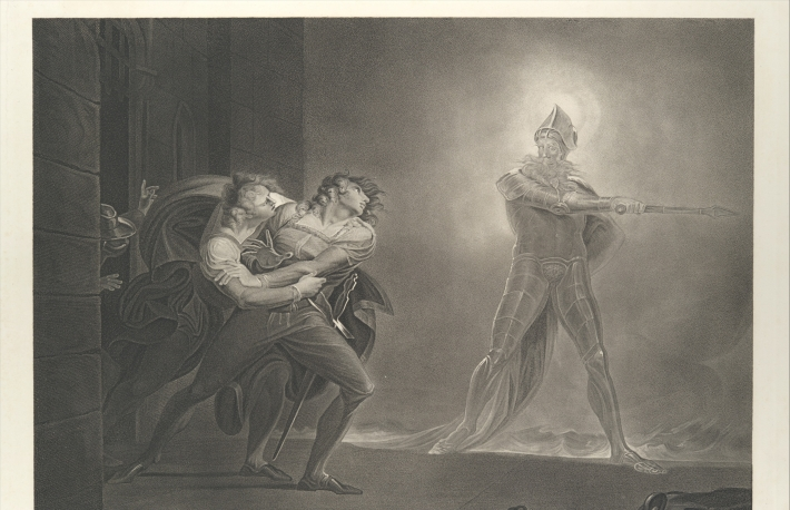 """""""Hamlet, Horatio, Marcellus and the Ghost (Shakespeare, Hamlet, Act 1, Scene 4)"""" by Robert Thew via The Metropolitan Museum of Art is licensed under CC0 1.0"""