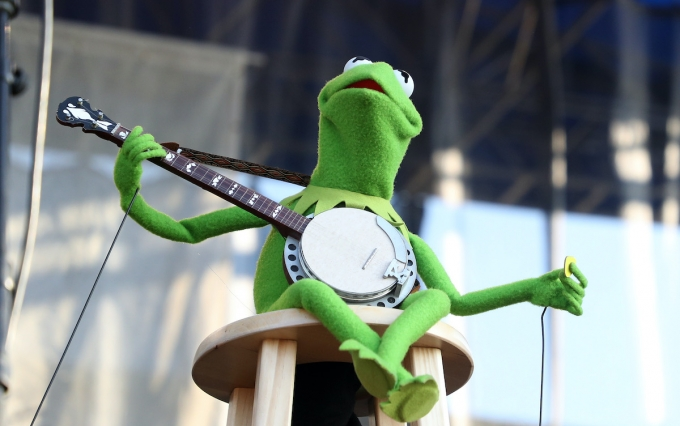 "NEWPORT, RHODE ISLAND - JULY 28: Kermit the Frog performs during the ""If I Had A Song"" tribute set during day three of the 2019 Newport Folk Festival at Fort Adams State Park on July 28, 2019 in Newport, Rhode Island. (Photo by Mike Lawrie/Getty Images)"