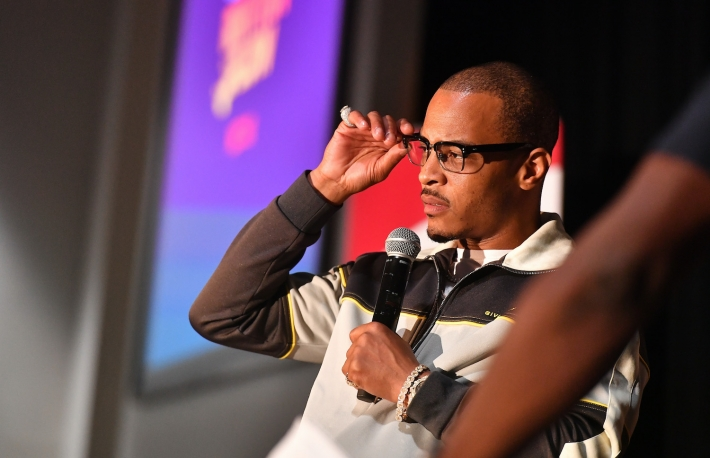 ATLANTA, GEORGIA - OCTOBER 08:  T.I. speaks onstage during Netflix Presents Rhythm+Flow Atlanta screening at Clark Atlanta University on October 08, 2019 in Atlanta, Georgia. (Photo by Paras Griffin/Getty Images for Netflix/Allied Integrated Marketing)