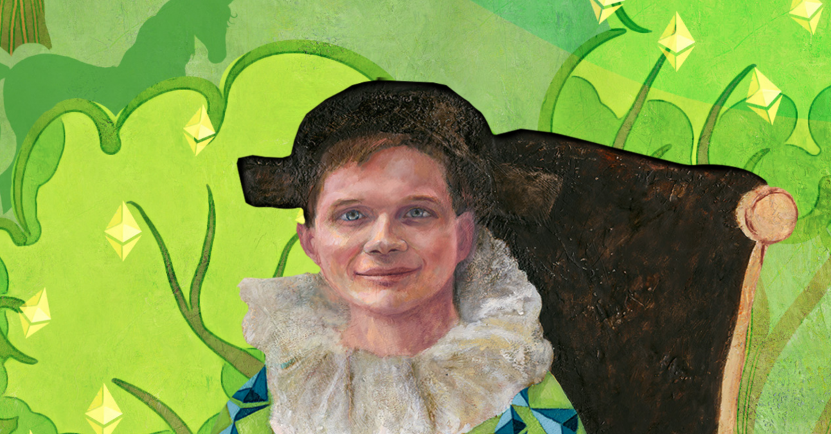 NFT Painting of Buterin in Harlequin Garb Sets...