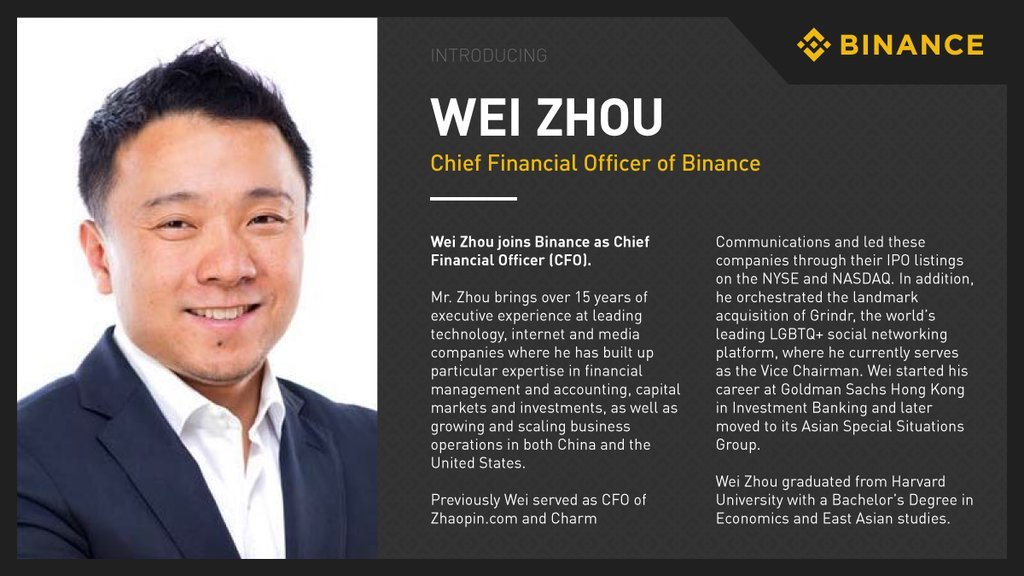 Binance's Chief Finance Exec Has Abruptly Left the Company