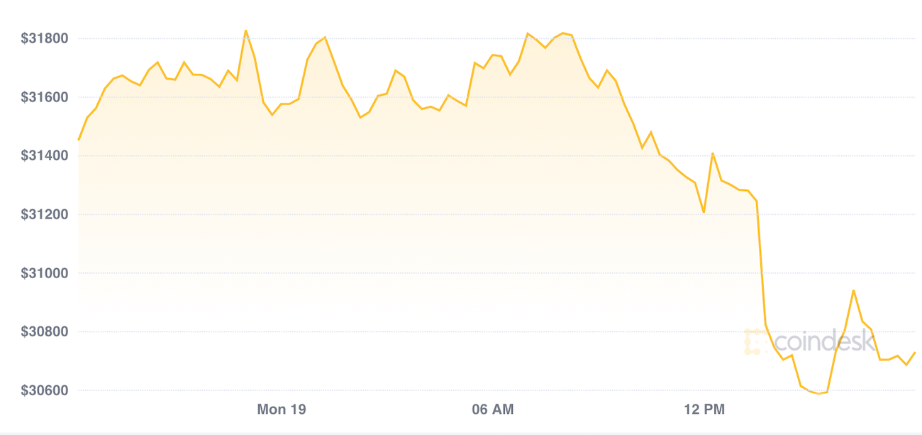 Bitcoin Drops Below $30K for First Time in 4 Weeks
