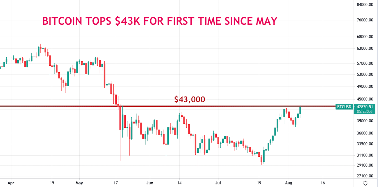Bitcoin Surges Above $43K for First Time Since May